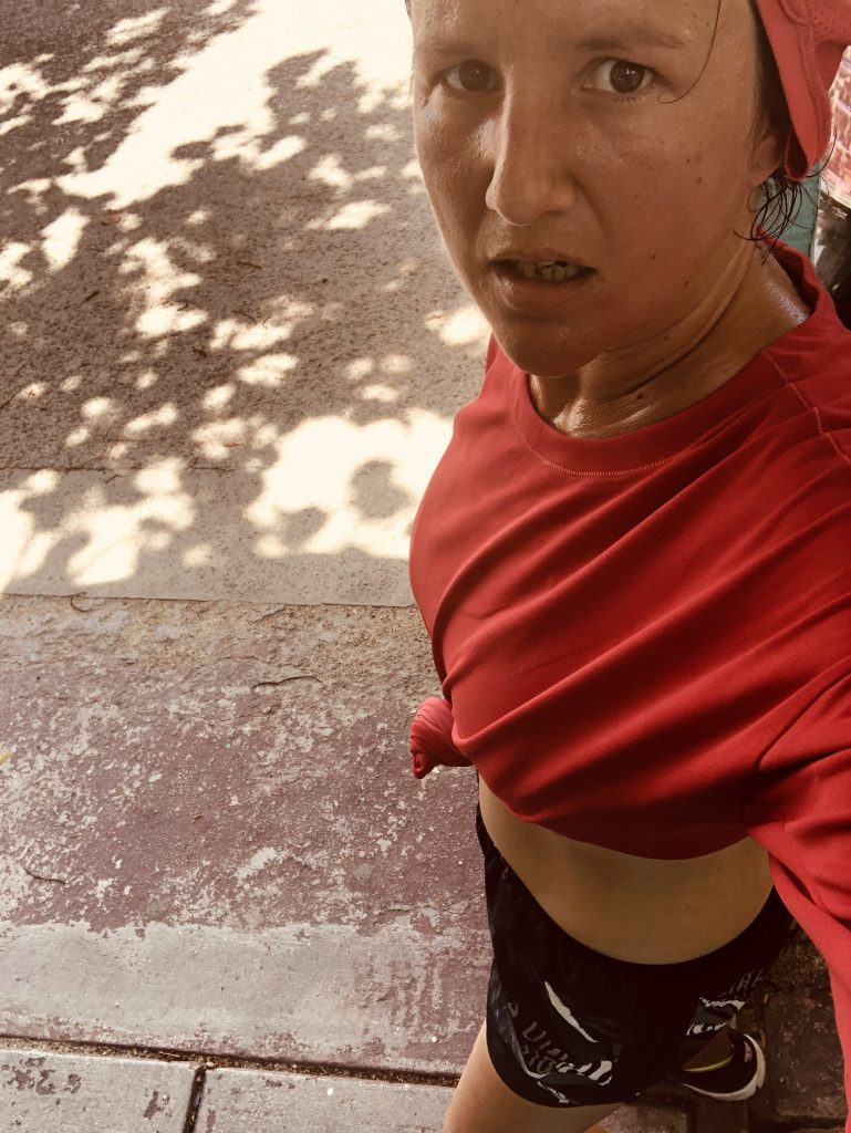 Woman running in the heat in Antigua