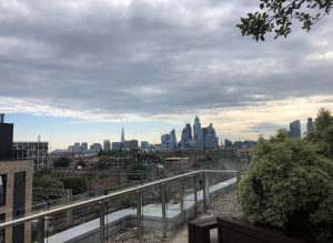 London City skyline from Bethnal Green, views of The Shard, Gherkin etc
