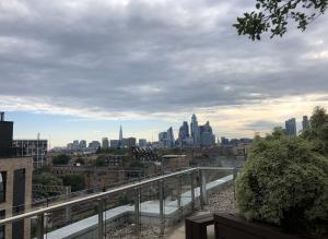 London City skyline from Bethnal Green, views of The Shard, Gherkin etc