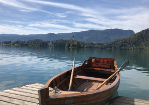 Rowing boat by the bank of Lake Bled