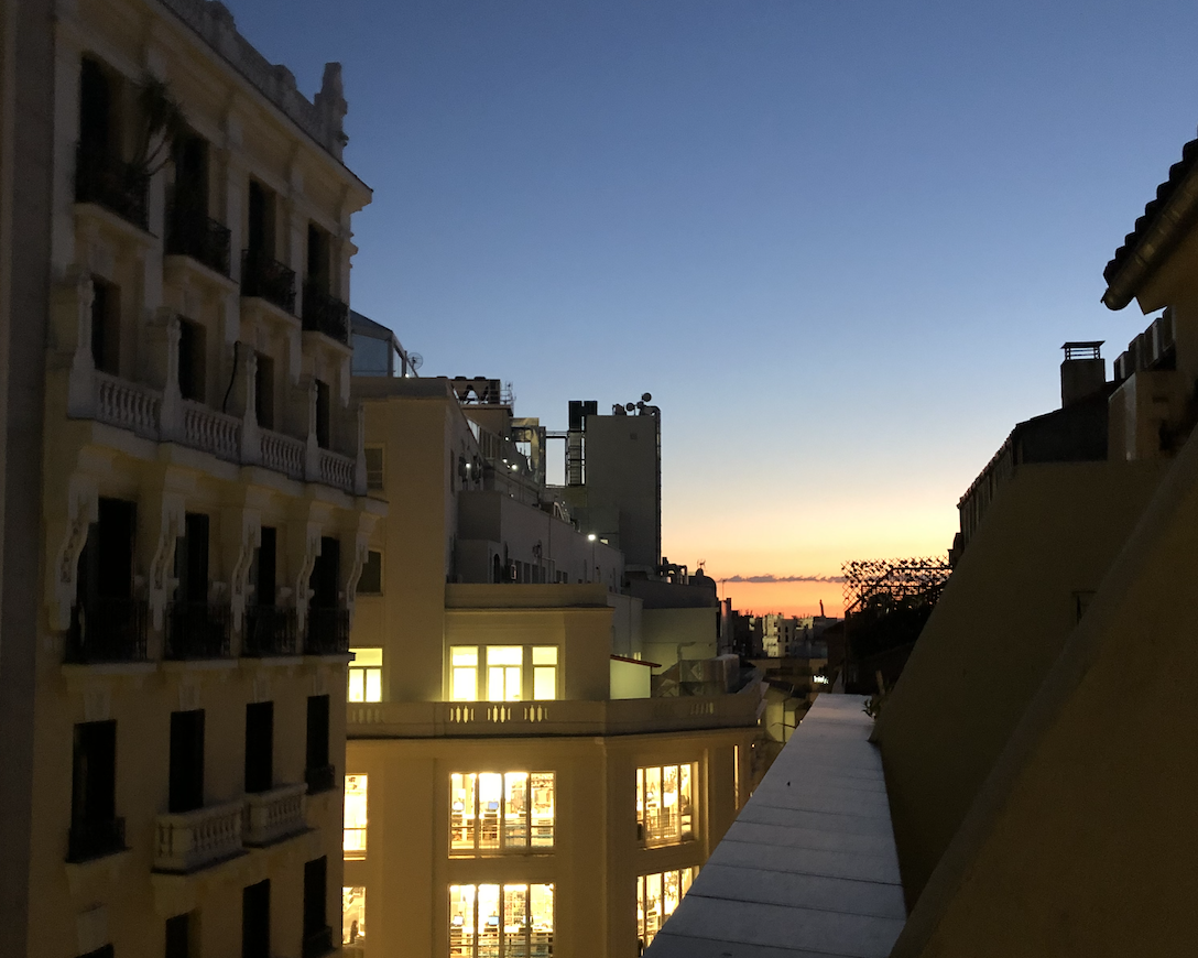 Sunset from rooftops in Malasana, Madrid